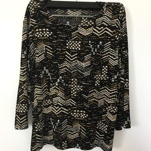 Black / Tan / White pattern Blouse